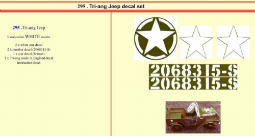 295 Tri-ang Jeep decal set